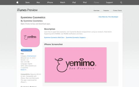 Screenshot of iOS App Page apple.com - Eyemimo Cosmetics on the App Store on iTunes - captured Oct. 22, 2014