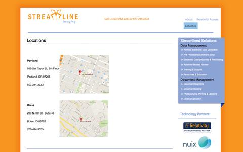 Screenshot of Locations Page streamlineimaging.com - Locations | Streamline Imaging - captured Oct. 1, 2014