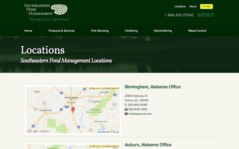 Screenshot of Locations Page sepond.com - Contact Us   Southeastern Pond Management - captured Jan. 1, 2017