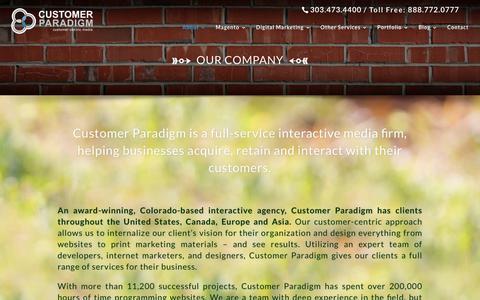 Screenshot of About Page customerparadigm.com - Customer Paradigm | About Us | Customer Paradigm - captured July 24, 2018