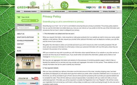 Screenshot of Privacy Page greenbuying.co.uk - GreenBuying.co.uk- Ethical business products agency - captured Nov. 15, 2016
