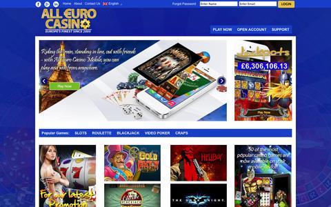 Screenshot of Home Page alleurocasino.com - All Euro Casino – Casino Euro Made For You - captured Oct. 2, 2014
