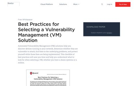 Best Practices for Selecting a Vulnerability Management (VM) Solution Whitepaper | Qualys, Inc.