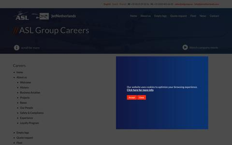 Screenshot of Site Map Page aslgroup.eu - ASL & JetNetherlands Careers | We fly. You are the captain. - captured Sept. 20, 2018
