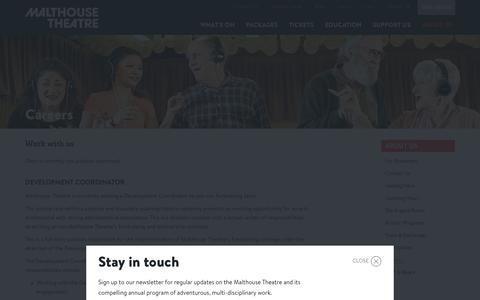 Screenshot of Jobs Page malthousetheatre.com.au - Careers · Malthouse Theatre - captured Dec. 21, 2015