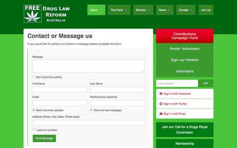 Screenshot of Contact Page druglawreform.com.au - contact - Drug Law Reform Australia - captured Dec. 2, 2016