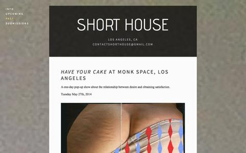 Screenshot of Menu Page shorthouse.info - Past — Short House - captured Oct. 9, 2014