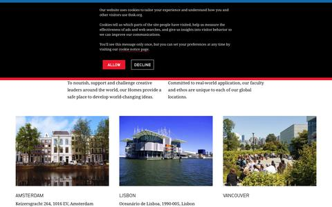 Screenshot of Locations Page thnk.org - THNK Locations — THNK School of Creative Leadership - captured Sept. 30, 2018
