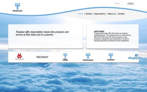 Screenshot of Home Page Menu Page trioplast.com - Trioplast | Reliable • Long-term • Active - captured Oct. 8, 2014