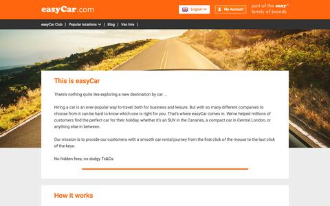 Screenshot of About Page easycar.com - One of the Leading International Car Hire Companies  | easyCar - captured Nov. 5, 2018