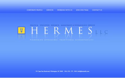 Screenshot of hermesllc.com - HERMES | Health & Education Research, Management & Epidemiologic Services - captured Oct. 10, 2014
