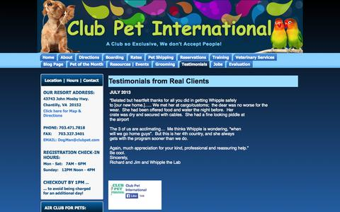 Screenshot of Testimonials Page clubpet.com - Testimonials from Real Clients | Club Pet International - captured Oct. 2, 2014
