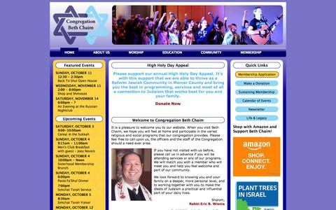 Screenshot of bethchaim.org - Congregation Beth Chaim - captured Oct. 5, 2015