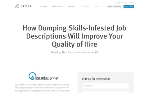 Screenshot of Signup Page lever.co - Webinar - How Dumping Skills-Infested Job Descriptions Will Improve Your Quality of Hire - Lou Adler & Lever - captured Feb. 24, 2016