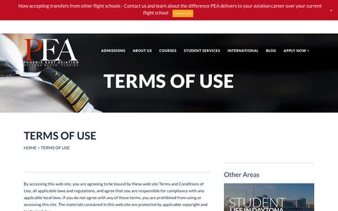Screenshot of Terms Page pea.com - Terms of Use | Phoenix East Aviation - captured July 30, 2017