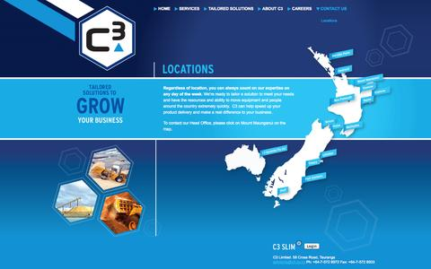 Screenshot of Locations Page c3.co.nz - Location - C3 - captured Oct. 28, 2014