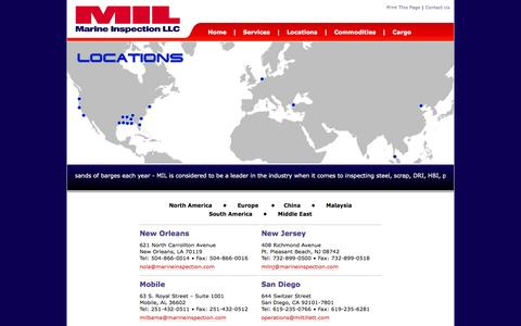 Screenshot of Contact Page Locations Page marineinspection.com - Marine Inspection - captured Feb. 4, 2016