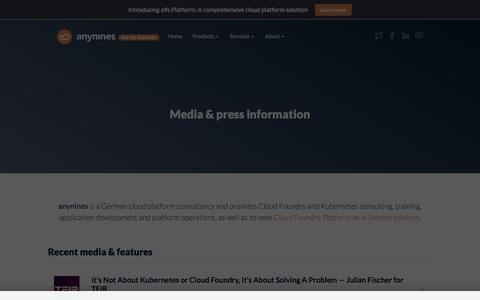 Screenshot of Press Page anynines.com - Press & Media • anynines - captured Feb. 24, 2020