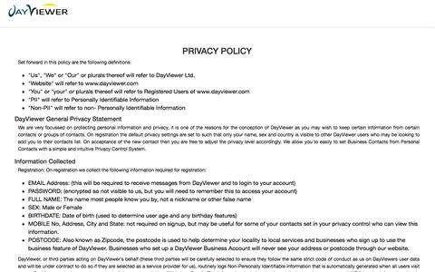 Screenshot of Privacy Page dayviewer.com - Dayviewer - captured Sept. 23, 2014