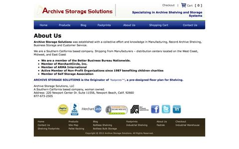 Screenshot of About Page archivestoragesolutions.com - About Us - Archive Storage Solutions - captured Oct. 4, 2014