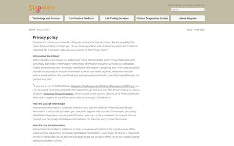 Screenshot of Privacy Page singulex.com - Privacy Policy - Singulex - captured Sept. 17, 2014