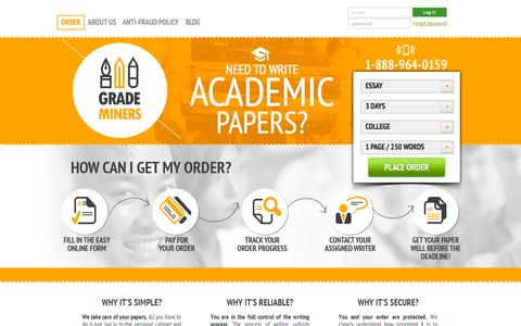 Screenshot of Home Page grademiners.com - Who Can Write My Essay for Me? Pro's Write Essay for You - captured June 16, 2015