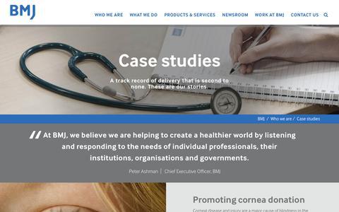Screenshot of Case Studies Page bmj.com - Case studies | BMJ - captured March 29, 2018