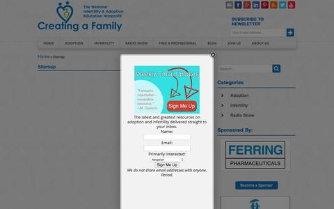 Screenshot of Site Map Page creatingafamily.org - Sitemap - Creating a Family | Creating a Family - captured July 17, 2016