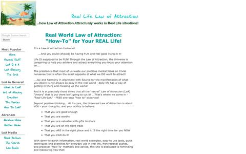 Screenshot of Home Page real-life-law-of-attraction.com - Real Life Law of Attraction: Abraham Hicks, Universal Laws of Attraction & more! - captured Oct. 18, 2018