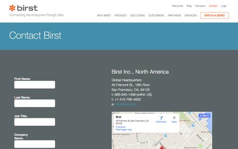 Screenshot of Contact Page birst.com - Get in Touch With Our BI Experts - Contact Birst - captured Jan. 18, 2016