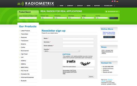 Screenshot of Signup Page radiometrix.com - Radiometrix - Radio Modules - RF Modules - Wireless Modules | Newsletter sign up - captured Oct. 7, 2014