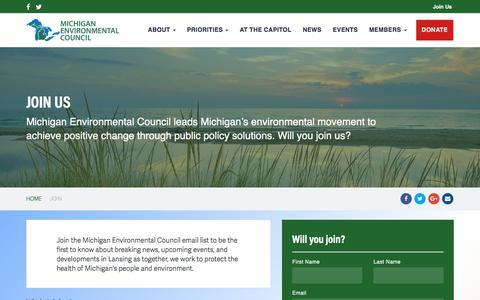 Screenshot of Signup Page environmentalcouncil.org - Join - Michigan Environmental Council - captured July 4, 2018