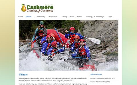 Screenshot of About Page cashmerechamber.org - Visitors - Cashmere Chamber of Commerce : Cashmere Chamber of Commerce - captured July 17, 2017