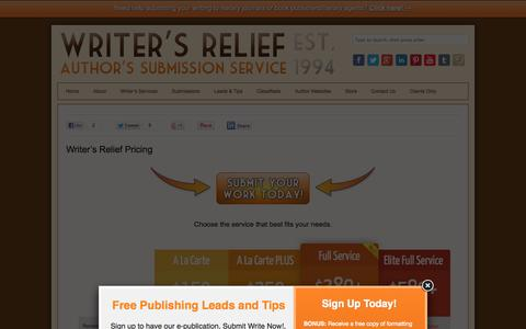 Screenshot of Pricing Page writersrelief.com - Pricing - Writer's Relief, Inc. - captured Sept. 19, 2014