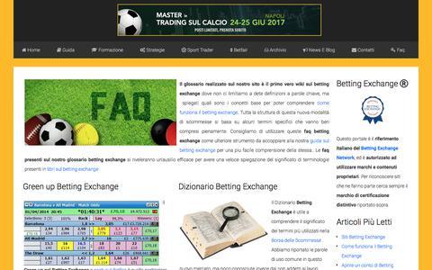 Screenshot of FAQ Page bettingexchangeitalia.net - Glossario e FAQ Betting Exchange - captured June 1, 2017
