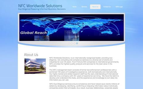 Screenshot of About Page nfcglobal.com - International Due Diligence - captured Nov. 4, 2017