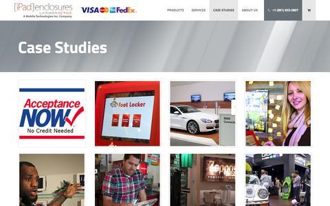 Screenshot of Case Studies Page ipadenclosures.com - Case Studies - iPad Enclosures - captured Feb. 11, 2016