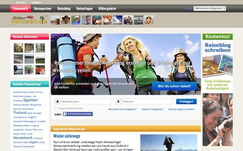 Screenshot of Home Page einfach-fernweh.de - Reisepartner finden, Reiseblog kostenlos erstellen, Erlebnisse teilen - captured Feb. 19, 2016