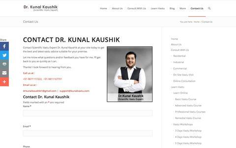 Screenshot of Contact Page kunalvastu.com - Contact Dr. Kunal Kaushik - Contact Vastu Consultant - Vastu Expert - captured Sept. 20, 2018