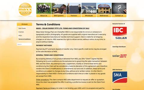 Screenshot of Terms Page maxx-solar-energy.co.za - Terms & Conditions   maxx - solar & energy - captured Feb. 12, 2016