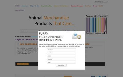 Screenshot of Login Page animalmerchandise.com - Buy Animal Themed Customer Login Online - captured July 25, 2016