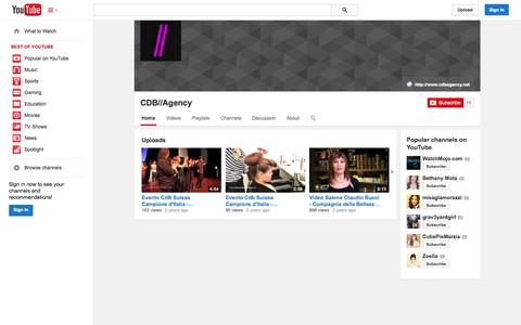 Screenshot of YouTube Page youtube.com - CDB//Agency  - YouTube - captured Oct. 22, 2014