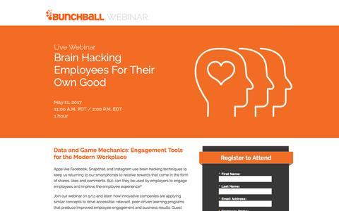 Screenshot of Landing Page bunchball.com - Brain Hacking Employees For Their Own Good - captured May 10, 2017