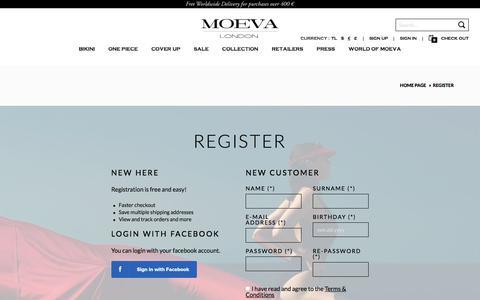 Screenshot of Signup Page moeva.com - Register | MOEVA - captured July 21, 2016