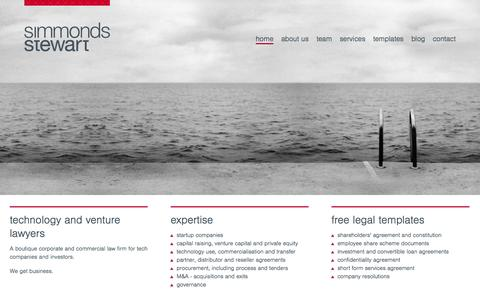 Screenshot of Home Page Menu Page simmondsstewart.com - Home - Technology and venture lawyers - captured Oct. 1, 2014