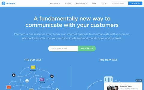 Screenshot of Home Page intercom.io - Customer Communication Platform | Intercom - captured Dec. 6, 2015
