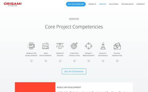 Screenshot of Services Page origamistudios.us - Mobile App & Web Design Development Agency | Origami Studios - captured Oct. 19, 2018