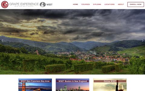 Screenshot of Home Page grapeexperience.com - Grape Experience - captured Dec. 13, 2015