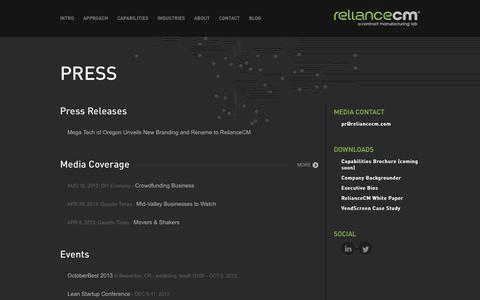 Screenshot of Press Page reliancecm.com - Press | RelianceCM - captured Oct. 9, 2014