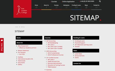 Screenshot of Site Map Page eastlondoncollege.com - Sitemap - East London College - captured July 10, 2016